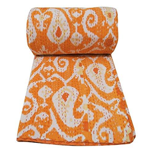 Indien Traditionelle Kantha Werfen, Kantha Steppdecke, Ikat Print Kantha Quilt, Vintage Baumwolle Gudri Werfen Decor Baumwolle Tagesdecke, Wendedecke Bettwäsche Baumwolle Tagesdecke Dekorative Decke -