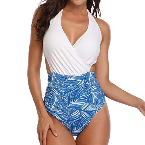 OSYARD Damen Figuroptimizer Push Up Monokini/V-Ausschnitt Strandkleidung/Neckholder Schwimmanzug/Cut Out Bademode mit Print/Einteiliger Strand Badeanzug