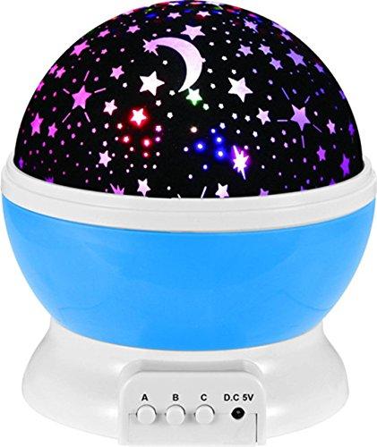 (XIAOBIDENG Romantische rotierende Sternenhimmel Sternenhimmel Projektion LED-Nachtlicht Rotation Projektor USB-Lampe für Kinder Nachttisch Lampe blau)