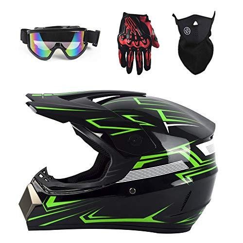 Motuo casco integrale motocross casco moto bambino casco scooter unisex bmx atv set casco, guanti, occhiali, maschera,verde,s