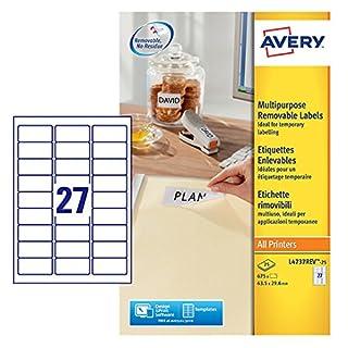 AVERY Zweckform L4737REV-25 Etiketten (A4, 675 Plus 135 Universal-Etiketten extra, ablösbar, 63,5 x 29,6 mm, 30 Blatt) weiß