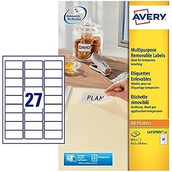 Avery L6141-20 Etiketten f/ür Laserdrucker stark klebend 63,5/x/33,9/mm 480/St/ück Wei/ß