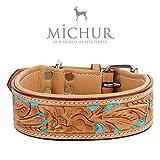 MICHUR Mariano Hundehalsband, Lederhalsband, Halsband, Beige/Blau, LEDER, mit gestanzten blumigen Mustern, in verschiedenen Größen erhältlich