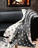 myHomery Kuscheldecke - Stern- & Hirsch-Decke aus Baumwolle - Decke