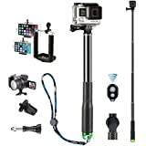 iBroz® - GoPro - iBarr Palito selfie Diving Pro XL (de 28 a 94cm) ampliable Deluxe de Aluminio – Horquilla telescópica. Para GoPro® Hero 4, 3+, 3, 2, 1 Nilox F60, SJ Cam, etc..y otras cámaras (trata miento anti corrosión) + Shutter Bluetooth & Adaptador Smartphones – Verde.