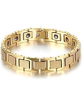 JewelryWe Schmuck Herren Magnet Armband, Luxus Kariert Rechteck I Link Magnetarmband Armreif, Wolfram Wolframcarbid...