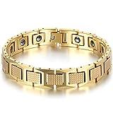 JewelryWe Bijoux Bracelet Homme Mode Haut de Gamme Machette Acier Tungstène Fantaisie Or Anniversaire Fête des Pères