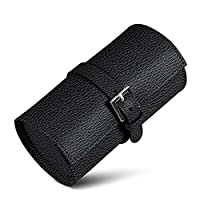Lucrin - Round 2 watch holder - Black - Granulated Leather