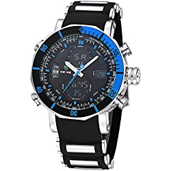 Alienwork DualTime Analogue-Digital Watch Chronograph LCD Wristwatch Multi-function Polyurethane black black OS.WH-5203J-03