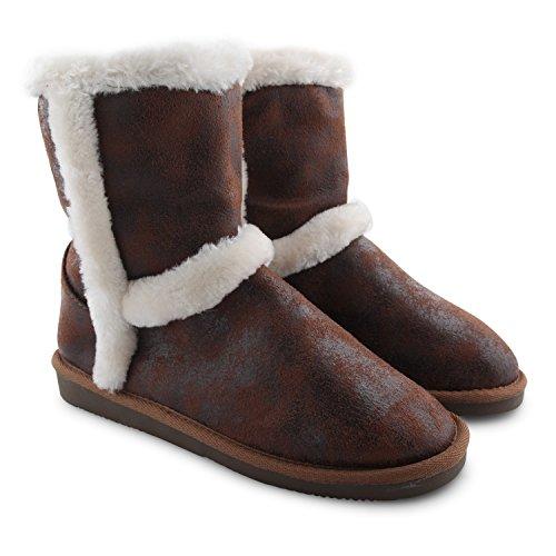 New Red Rock plat imitation fourrure avec doublure Bottes d'hiver pour femme Semelle rigide avec boucle Casual cheville Snugg chaussures - Dark Chestnut Furry Lined