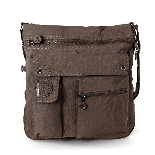 LUXUS Schultertasche MODISCHE Damentasche Umhängetasche BAG STREET Braun (Luxus Messenger Bag)