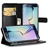 EasyAcc Galaxy S6 Edge Cover, S6 Edge Leather Wallet Case Pouch Cover with Kickstand Card Holder Black PU Leather for Samsung Galaxy S6 Edge Case
