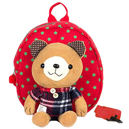 Preisvergleich Produktbild KingNew Kinder Tasche Kindergarten Cartoon Rucksack Tier-Muster Rucksack für Kleinkinder (rot)