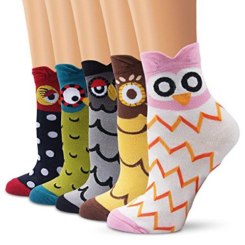 Lindo calcetines de la historieta, Moliker calcetines térmicos varios diseños / colores Adulto Unisex Calcetines (Búho)