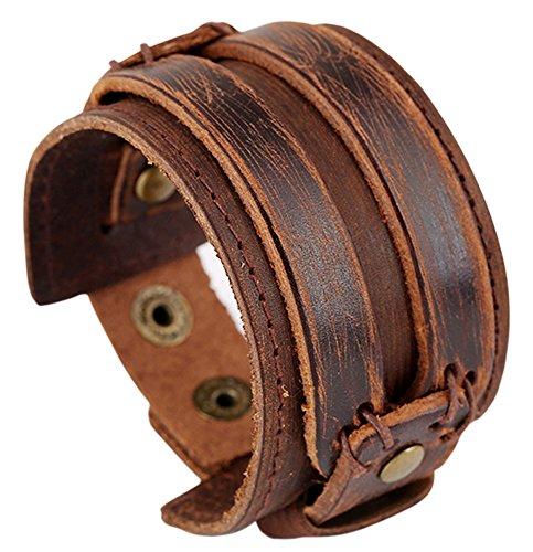 Doitory Men Leather Bracelet Pun...