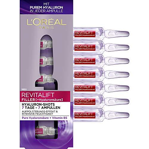 Loreal Paris (L'Oréal Paris Hyaluronsäure Gesicht Ampullen hochdosiert, Filler-Shots mit purem Hyaluron für Intensive Feuchtigkeit, 7 x 1,3 ml)