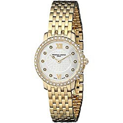 Frederique Constant Mini Slim FC200WHDSD5B 25mm Diamonds Stainless Steel Case Yellow Gold Plated Stainless Steel Anti-Reflective Sapphire Women's Watch