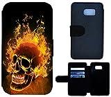 Flip Cover Schutz Hülle Handy Tasche Etui Case für (Samsung Galaxy S7 Edge G935F, 1479 Totenkopf Skull Feuer)