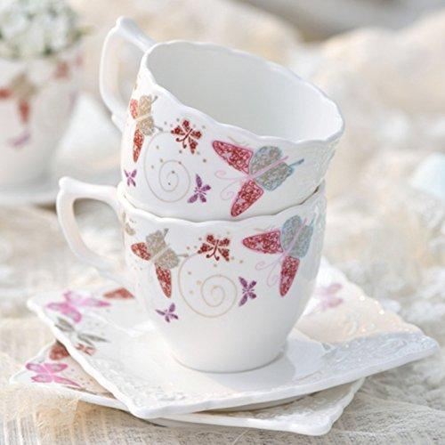 Dana Carrie Schmetterling Kaffeetasse mit Blumen Tee geprägte set Tasse Untertasse set Tee am...