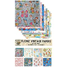 "Paper Pack (24sh 6""x6"") Baby Newborn FLONZ Vintage Paper for Scrapbooking and Craft"