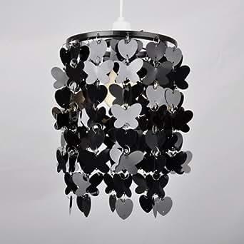 Abat-Jour Abat Jour Lustre Suspension, NOIR brillant Papillons / Fleurs et cœurs en Cascade, Pour Douille de 28mm ou 42mm
