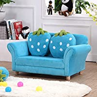 Kids Sofa,Kids Armchairs WOOD FRAME Double Seats With 2 Pillows Upholstered Kids Chair For Toddler Lounge Bed 2 In 1 Baby Room