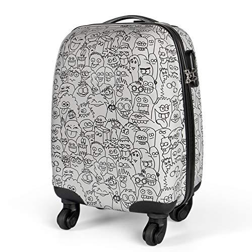 MasterGear Kinder Koffer im Monster Design , Handgepäck Größe , Kinderkoffer mit 4 Rollen (360 Grad) , Trolley, Reisekoffer, Hartschalenkoffer, ABS, Zahlenschloss