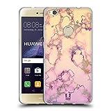 Head Case Designs Lila Und Cremweiss Schimmerndes Marmor Soft Gel Hülle für Huawei P8 Lite (2017)