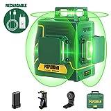 Offerts Féte -10€ | POPOMAN Nivel Láser Verde 45m, 3x360° Profesional Línea Laser, USB Carga, Autonivelación, Función de Pulso, bolsa de transporte(incl. 5200mAh batería de litio y Base Magnética)