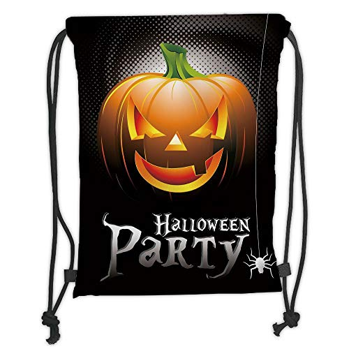 Icndpshorts Halloween,Halloween Party Theme Scary Pumpkin on Abstract Modern Backdrop Spider Decorative,Silver Black Orange Soft Satin,5 Liter Capacity,Adjustable STR