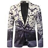 Sakko Blazer Herren Anzug Jacke Print Bunte Funky Casual Party Slim Fit One Button Mehrfarbig Small