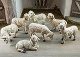 Krippenshop Weiße Schafe, Schafherde 7-tlg. Aus Polyresin, für Weihnachtskrippe, 4-6,5 cm
