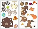 Samunshi® 17-teiliges Lustige Waldtiere Wandtattoo Set Kinderzimmer Babyzimmer Bär-chen in 5 Größen (2x21x34cm Mehrfarbig)