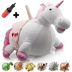 WALIKI TOYS Unicorno Gonfiabile Cavalcabile (Cavallo Gonfiabile, Pony Cavalcabile, Animale Gonfiabile per Bambini, Pompa Inclusa)