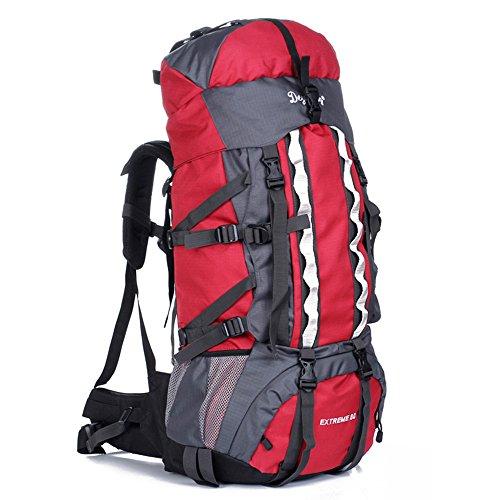 80L Outdoor Wanderrucksack Wasserdichter Trekking Rucksack Professioneller Outdoor Bergsteigen Rucksack mit Regenhülle, 90 x 35 x 25 cm Rot