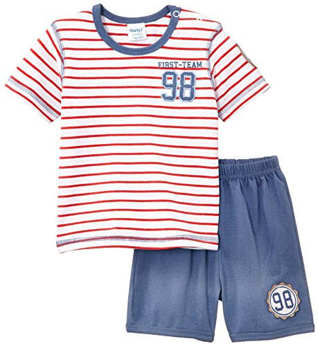Dirkje Baby-Jungen Unterwäsche-Set 2-PCE Babysuit Short, Rot (Red Stripe/Faded Darkblue), (Herstellergröße: 74) - 2pce Set