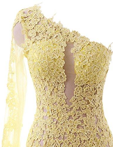 JAEDEN Damen One-Shoulder Spitze Meerjungfrau Ballkleider Lang Chiffon Festkleid Abendkleid Partykleid Elfenbein