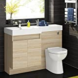 Oak Vanity Unit Modern Toilet Bathroom Sink Cabinet Furniture Set