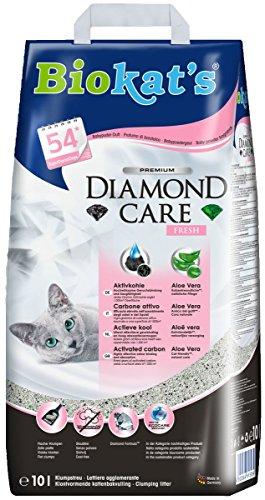 Biokat\'s Diamond Care Fresh Katzenstreu mit Duft | Hochwertige Klumpstreu für Katzen mit Aktivkohle und Aloe Vera | 1 Papierbeutel à 10 L