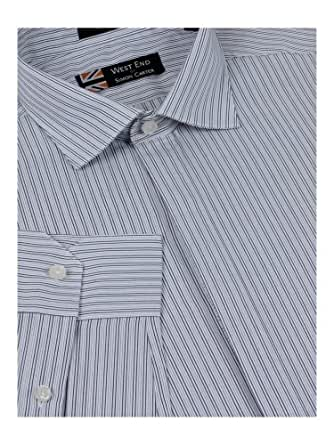 Suit Direct Simon Carter Stripe Shirt - Slim Fit Formal Shirts Single Cuff Grey 17.5
