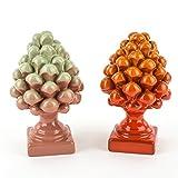 Ceramiche Azzaro & Romano Caltagirone Tannenzapfen zweifarbig Sizilianische Keramik handmade, Paar Zapfen Made in Italy