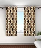 Cortina Abstract 2 Piece Eyelet Polyester Window Curtain - 5 ft, Brown