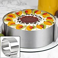 lzndeal Moule Cercle à Cake de Dessert Emporte-Pièces en Acier Inoxydable Bague Réglable Cercle Patisserie Reglable…