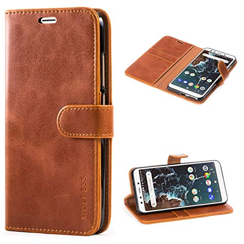 Mulbess Handyhülle für Xiaomi Mi A2 Hülle, Leder Flip Case Schutzhülle für Xiaomi Mi A2 Tasche, Cognac Braun