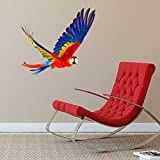 V&C DESIGNS LTD LARGE FLYING PARROT ANIMAL VINYL Children's Wall Sticker Wall Quote Lettering Vinyl Decal Mural Transfer Baby Nursery Children's Bedroom Toddler Room Geometric Playroom Decoration Wall Decor Boys Room Girls Room Various Colours Available