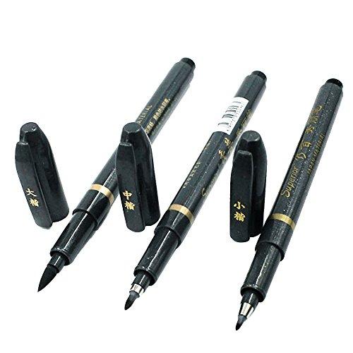 Kalligraphie Stift,Beetest 3 Stücke Tragbare Stifte 3 Verschiedene Nib Filzspitze Pinsel Nachfüllbaren Tintenschreiber zum Schreiben Kalligraphie Übungen Unterschrift Schwarz
