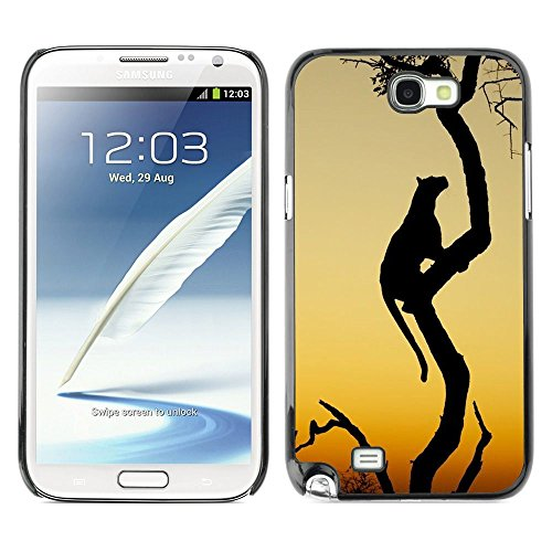 Plastic Shell Protective Case Cover    Samsung Galaxy Note 2 N7100    Cat African Wilderness Sunset @XPTECH (Samsung Galaxy Stellar Hard Case)