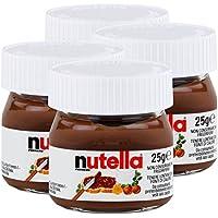 Ferrero Nutella Kleines Mini Design Glas 4er Set a 25g, Brotaufstrich, Nussnugatcreme, Schokoladen Auftrich