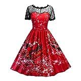 iShine Damen Rockabilly Kleid mit Spitzen Kleid 1/2 Arm Swing Kleid Abendkleid Ballkleid Festlich Hochzeit Cocktailkleid Knielang-RD-M