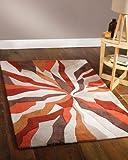 Lord of Rugs Teppich, Modern Art Design, groß, schwer, orange-braun, 120 x 170 cm